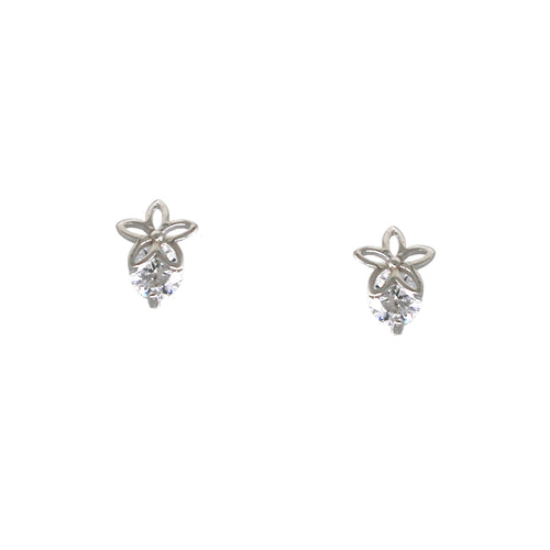 925 Sterling Silver Flower Cubic Zirconia Pave Earrings