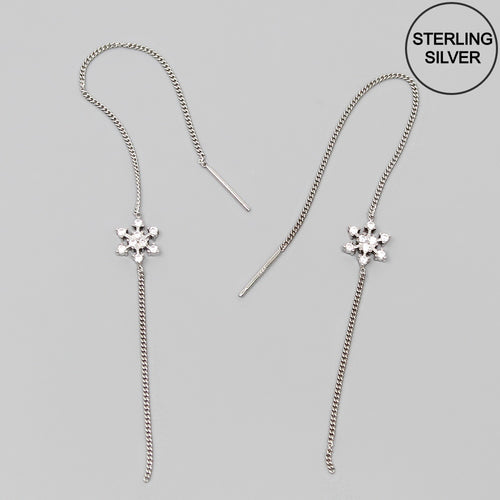 CZ Embellished Snowflake Sterling Silver Threader Earrings