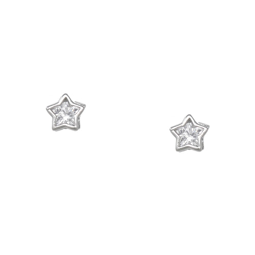 925 Sterling Silver Star Framed Cubic Zirconia Stud Earrings
