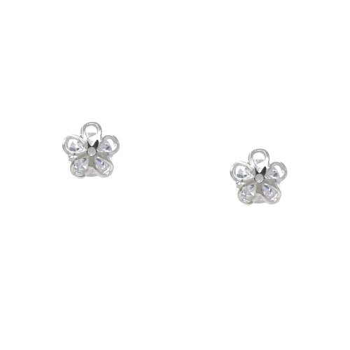 925 Sterling Silver Flower Covered Cubic Zirconia Stud Earrings