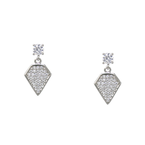 925 Sterling Silver Cubic Zirconia Pave Rhombus Drop Earrings