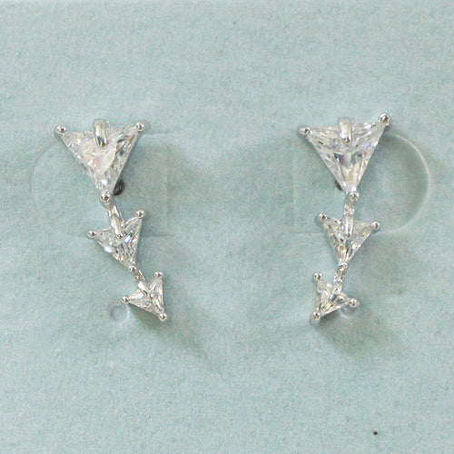 e7e2ad57f 925 Sterling Silver Crystal Triangle Studs Earrings