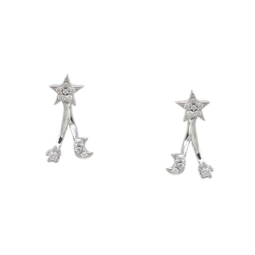 925 Sterling Silver Cubic Zirconia Pave Star Moon Earrings