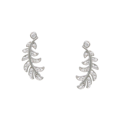 925 Sterling Silver Cubic Zirconia Pave Leaf Stud Earrings