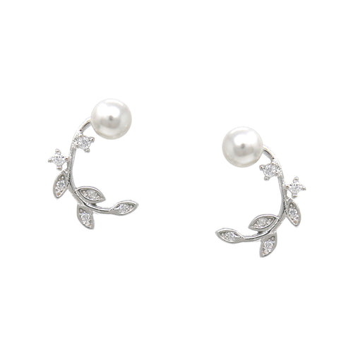 925 Sterling Silver Cubic Zirconia Pearl Bead Pave Leaf Stud Earrings