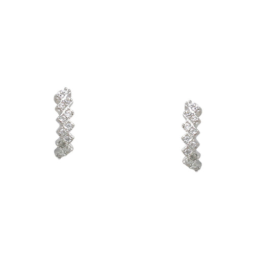 925 Sterling Silver Cubic Zirconia Pave Curved Bar Stud Earrings