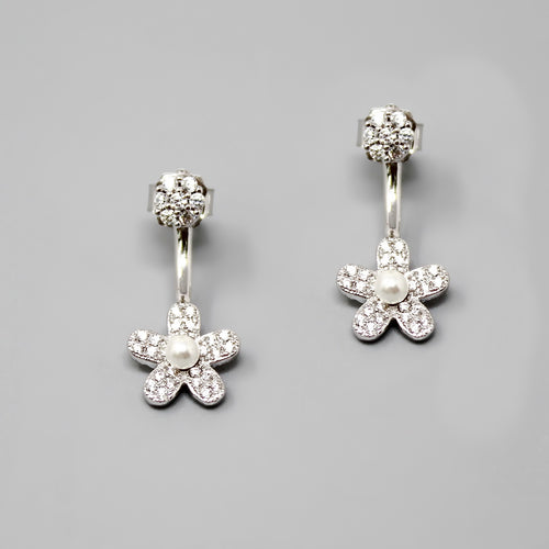 Sterling Silver CZ Pave Flower Ear Jackets