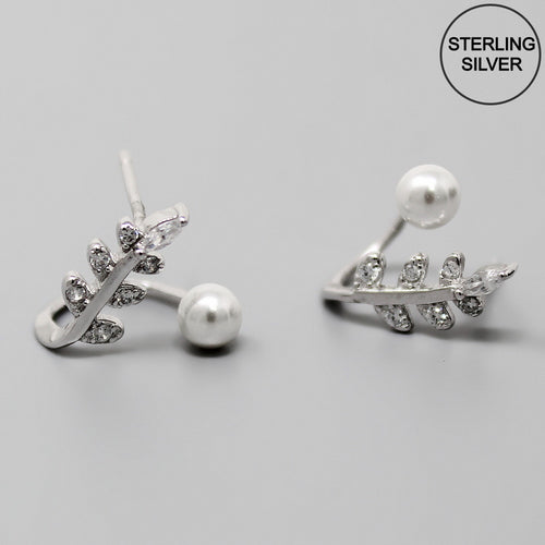 CZ Pave Leaf With Pearl Sterling Silver Stud Earrings