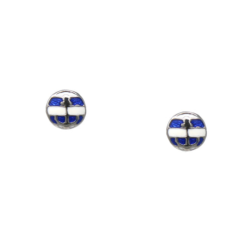 925 Sterling Silver Enamel Glazed Nautical Stud Earrings