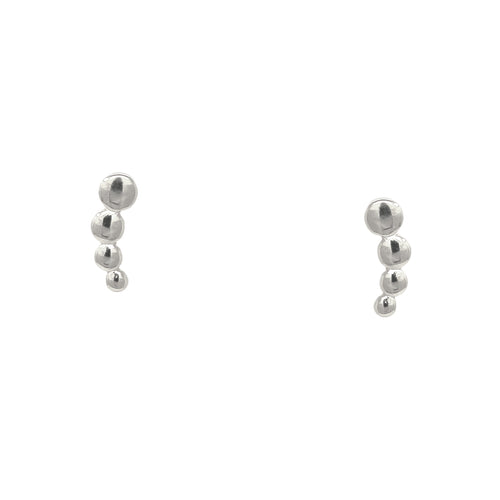 925 Sterling Silver Dotted Bar Stud Earrings