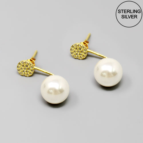 CZ Pave Top Pearl Drop Ear Jacket Earrings