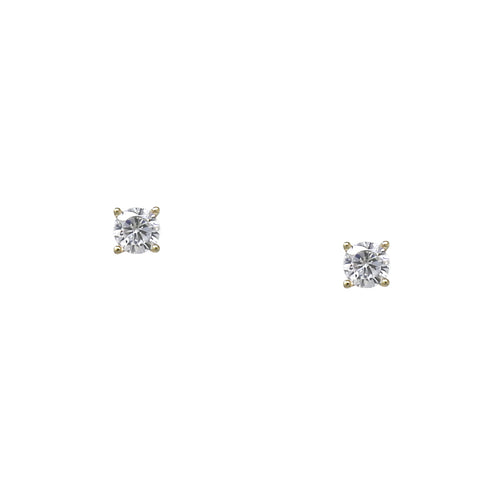 925 Sterling Silver Cubic Zirconia Round Stud Earrings