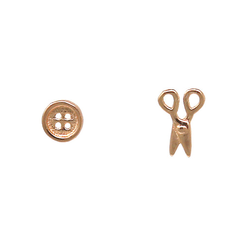 925 Sterling Silver Button Scissors Stud Earrings
