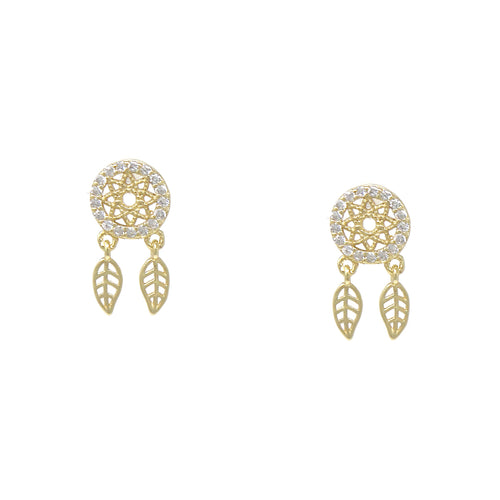 925 Sterling Silver Cubic Zirconia Pave Dream Catcher Drop Earrings