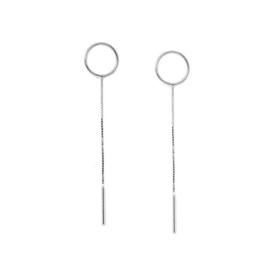 Mini Circle Chain Drop Sterling Silver Earrings