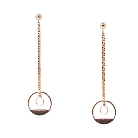 Circle Chain Drop Sterling Silver Earrings