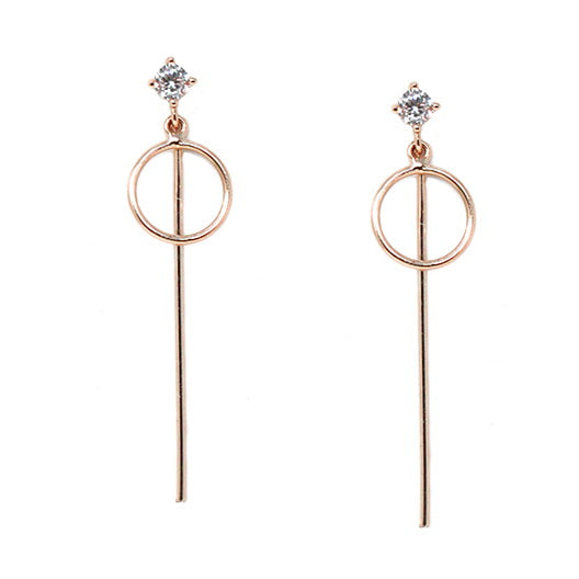 Simple Bar And Circle Sterling Silver Earrings