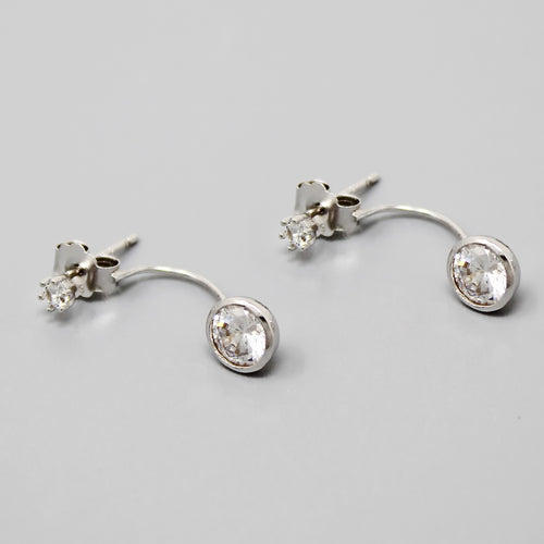 Sterling Silver Simple CZ Stone Ear Jacket Earrings
