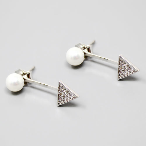 Sterling Silver CZ Pave Triangle Ear Jackets