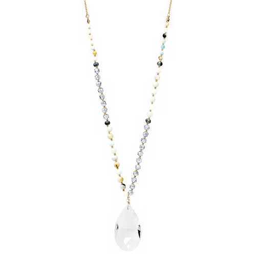 Semi-Precious Stone And Glass Bead Long Necklace With Glass Teardrop Pendant