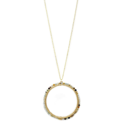 Bead Wrapped Circle Pendant Long Necklace
