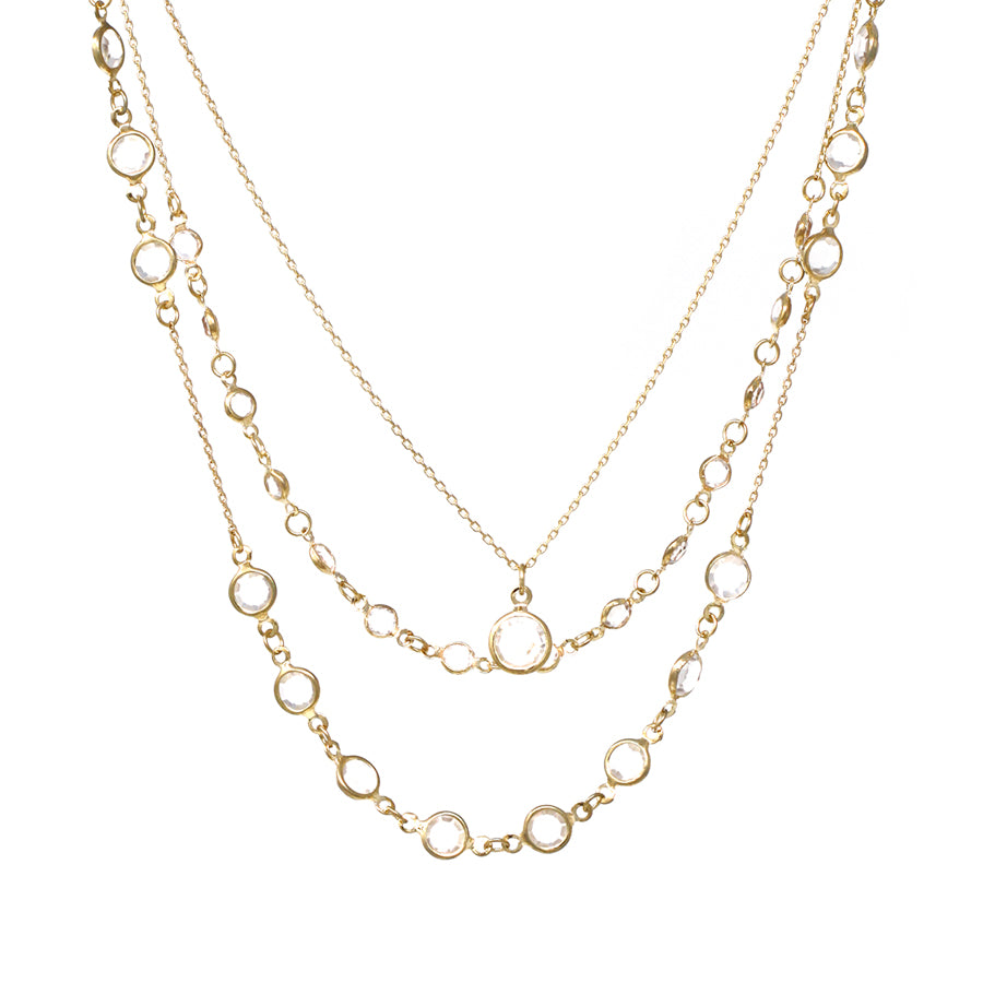 Faceted Stone Chain And Pendant Triple Layered Short Necklace