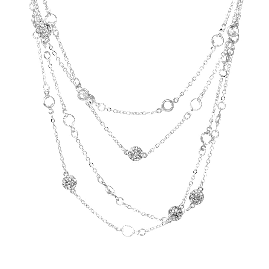 Pave Stone Disc With Stone Station Multi Layered Short Necklace