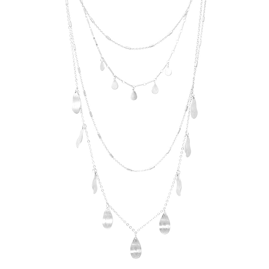 Teardrop Shaped Metal Dangle Multi Layered Necklace