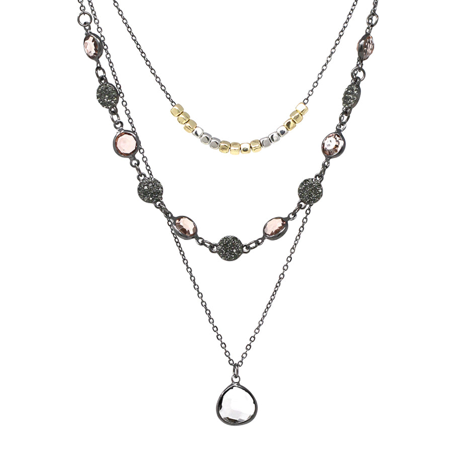 Teardrop Glass Stone Pendant With Pave Disc And Nugget Layered Short Necklace