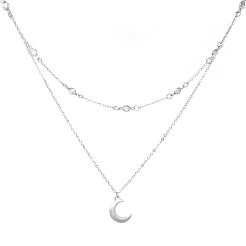 Crescent Moon Pendant Faceted Stone Floating Layered Short Necklace