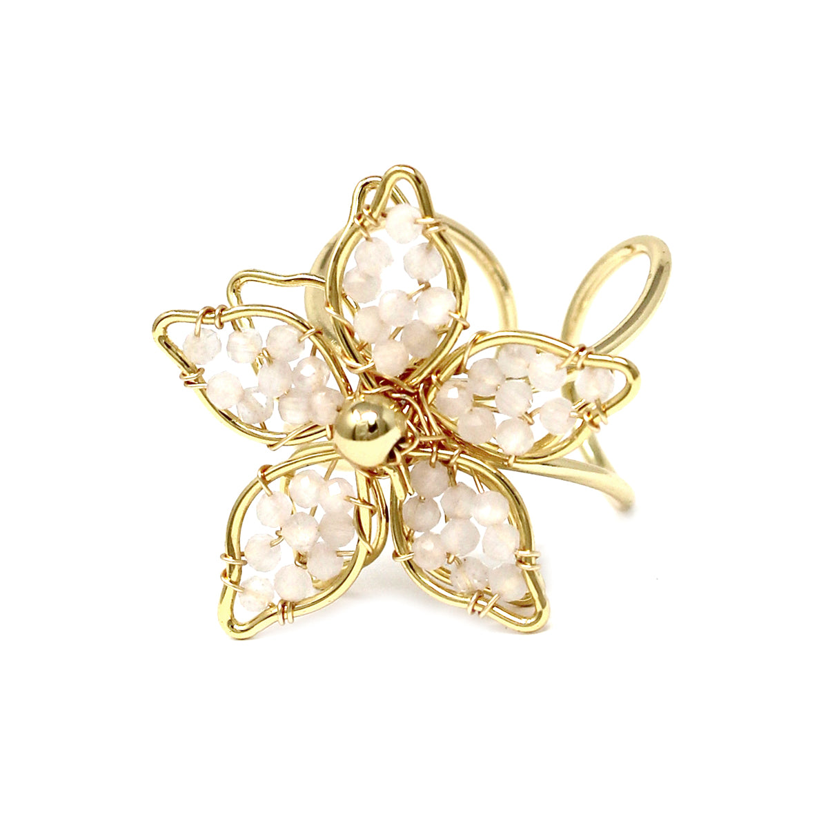 Glass Beaded Flower Adjustable Ring