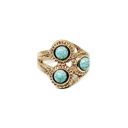 Triple Turquoise Stone Vintage Ring