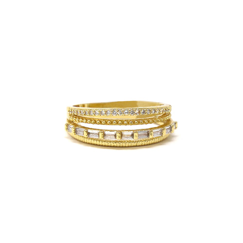 Emerald Cut And Round Cubic Zirconia Pave Multi Layer Ring