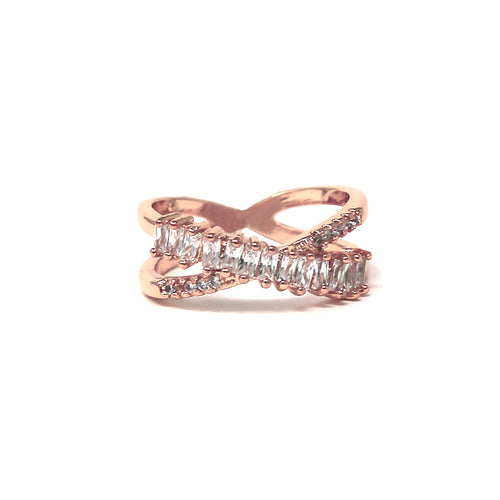 Emerald Cut Cubic Zirconia Pave Ring