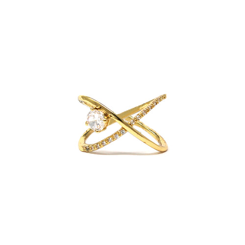 Cubic Zirconia Pave Crossover Ring