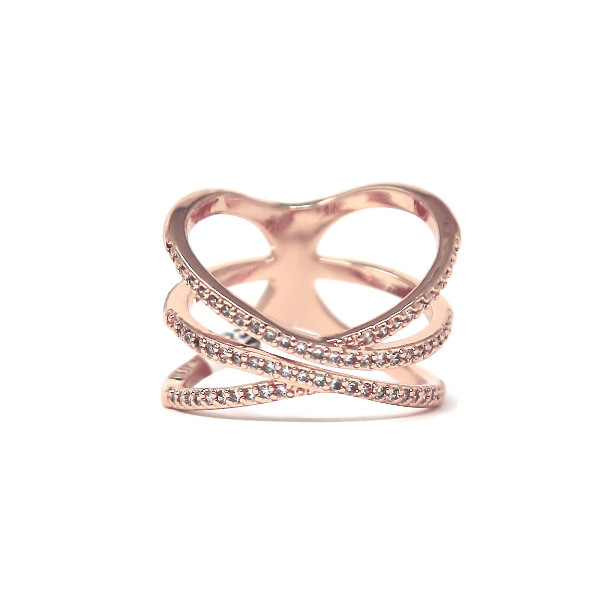 Cubic Zirconia Pave Criss Cross Ring