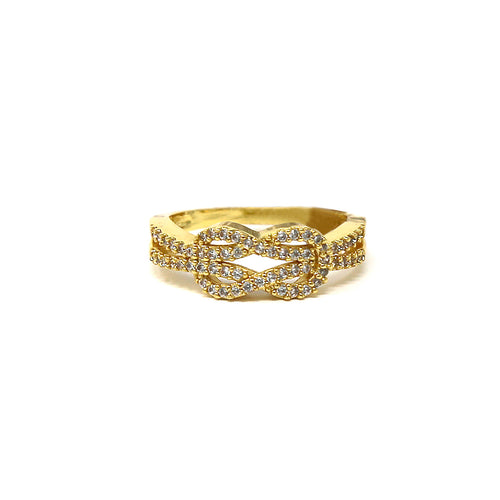 Cubic Zirconia Pave Knot Shape Ring