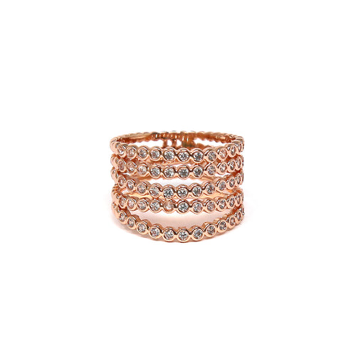 Cubic Zirconia Pave Multi Layered Ring