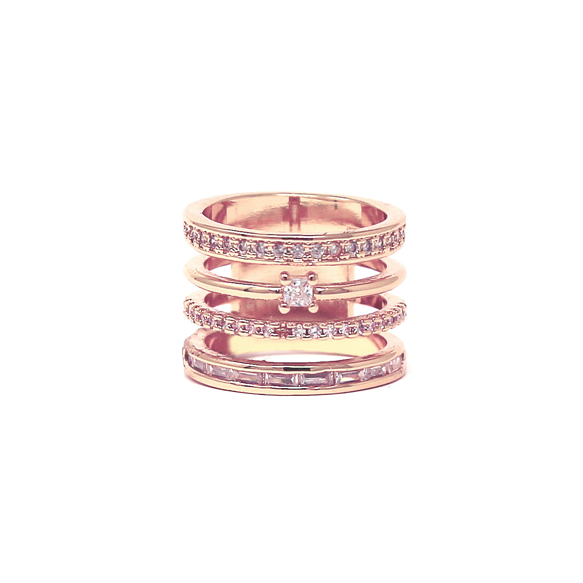 Cubic Zirconia Pave Multi Layered Cocktail Ring