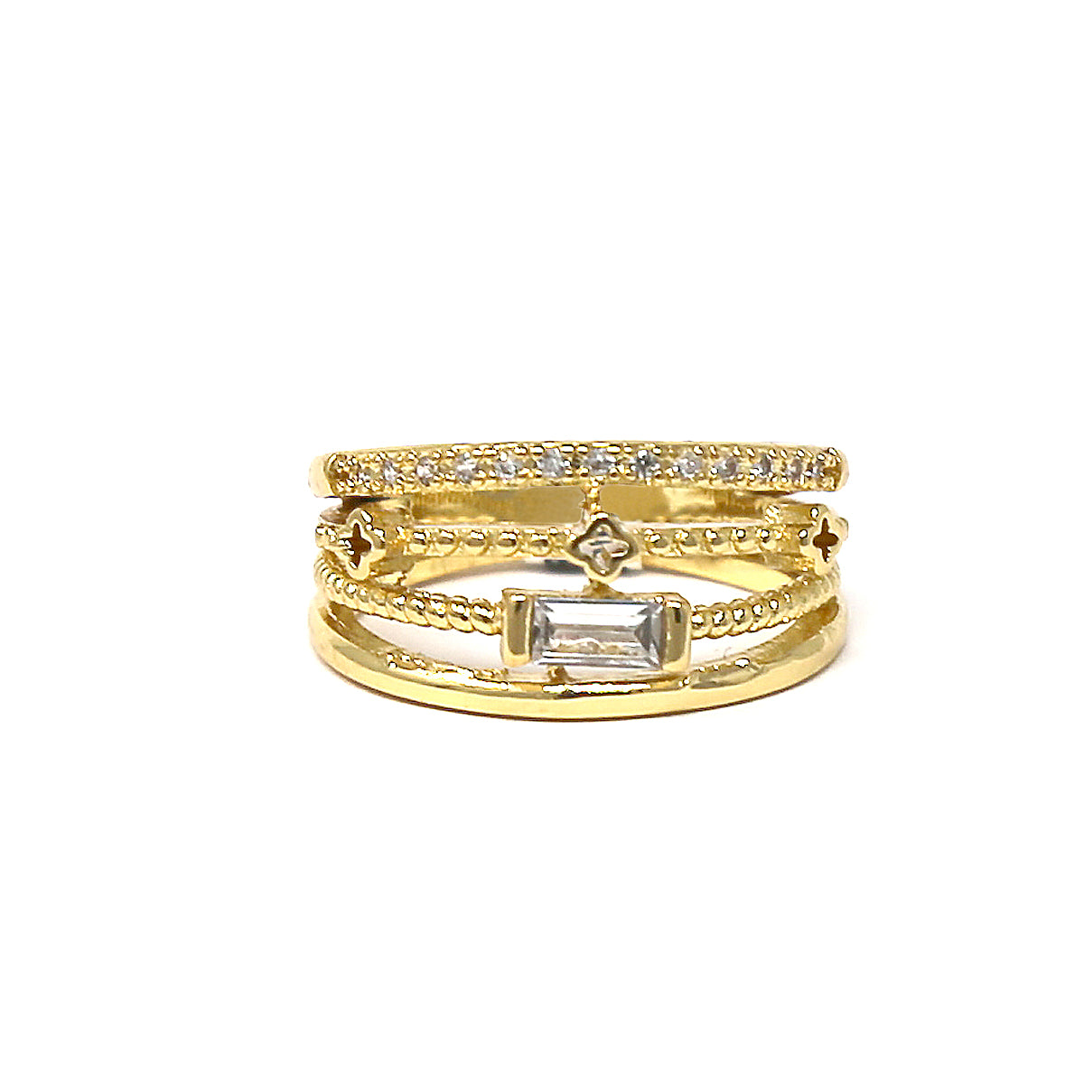 Cubic Zirconia Pave Multi Layer Ring