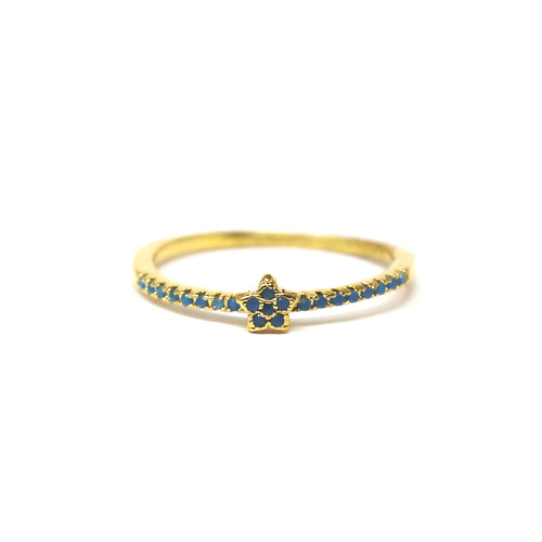 Turquoise Cubic Zirconia Pave Star Ring