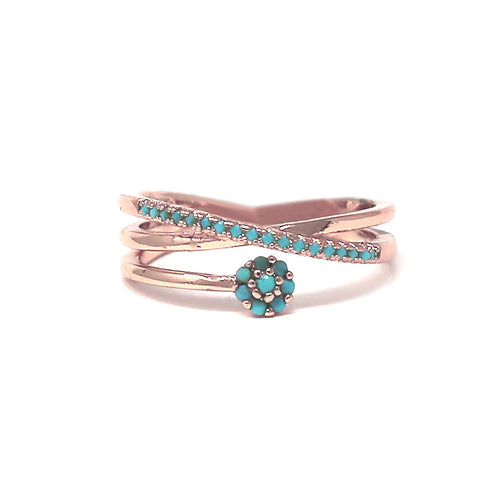 Turquoise Cubic Zirconia Pave Flower Ring