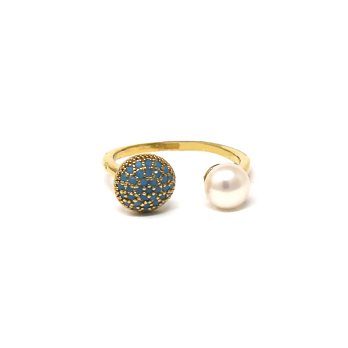 Turquoise Cubic Zirconia Pearl Bead Ring