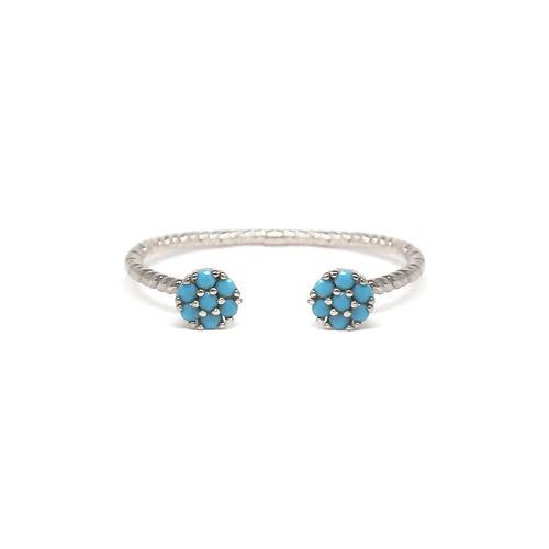 Turquoise Cubic Zirconia Pave Disc Open Ring