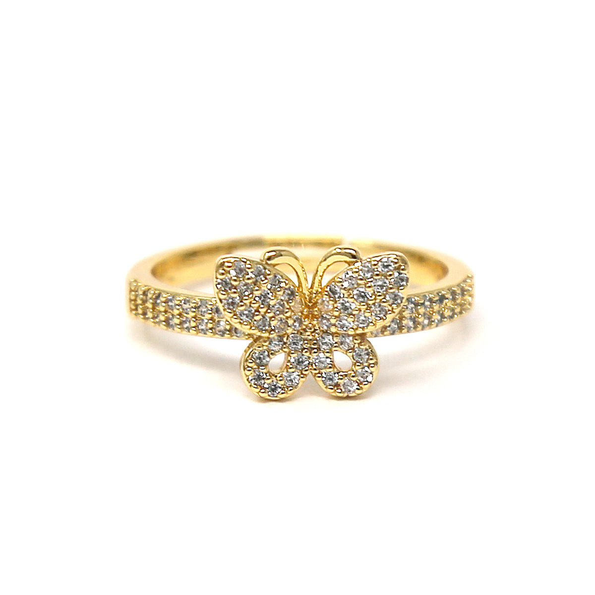 Cubic Zirconia Pave Butterfly Ring