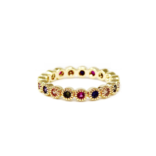 Multi Color Round CZ Pave Ring
