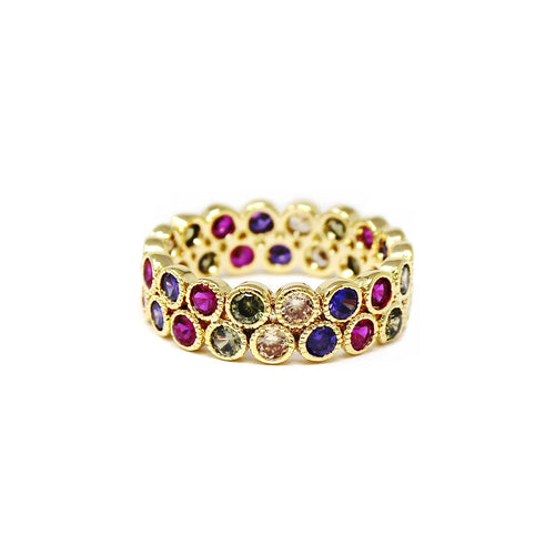 Multi Color CZ Pave Double Row Ring
