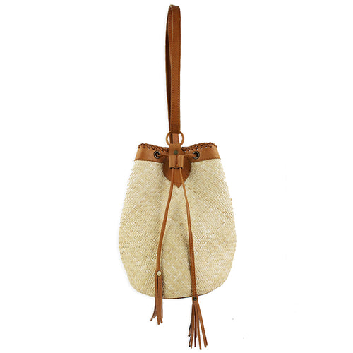 STREET LEVEL Rattan With Leather Trim Drawstring Backpack Sling Bag