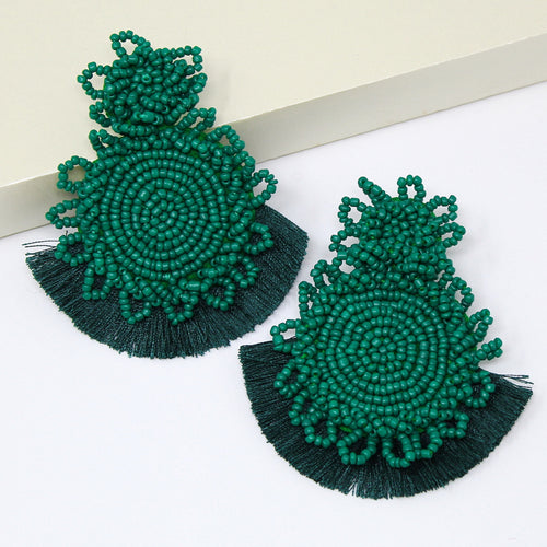 Seed Beaded Double Disc With Fringe Drop Earrings