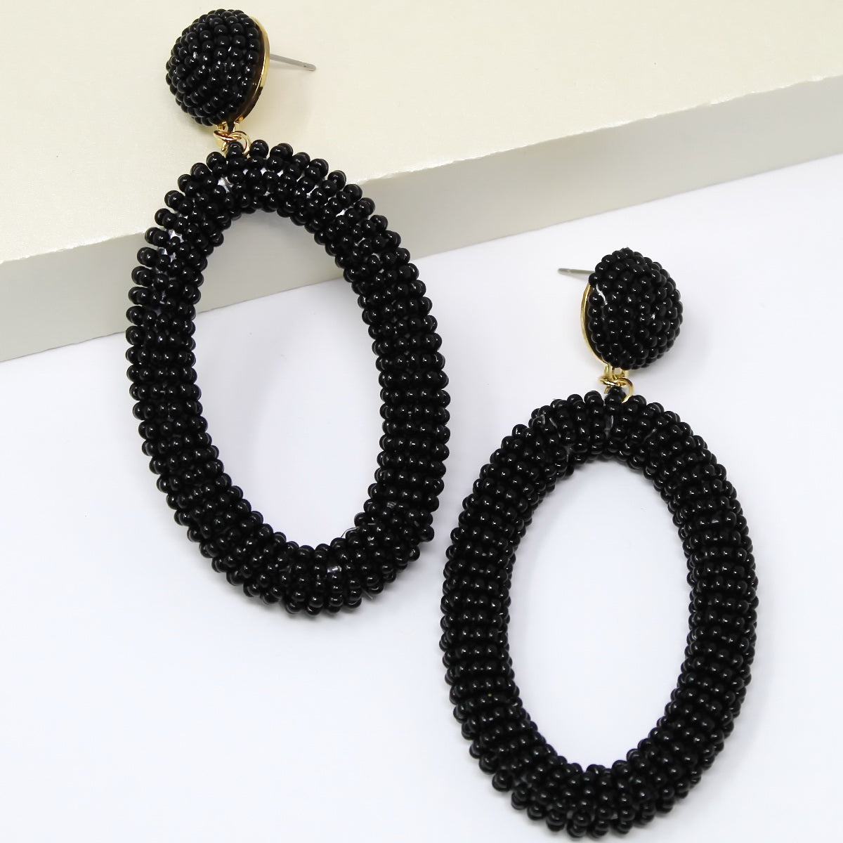 Seed Beaded Oval Hoop Drop Earrings